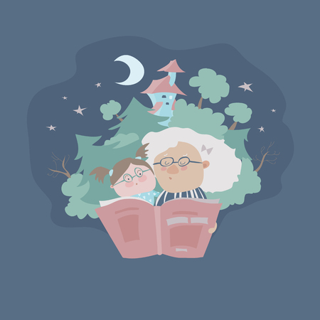 Grandmother reading a fairytales to her granddaughter. Vector illustration