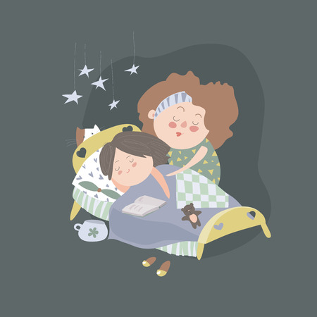 cat sleeping: Mom kisses daughter at bedtime. Vector illustration