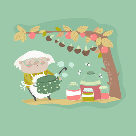 Cute grandma cooking jam. Vector cartoon illustration