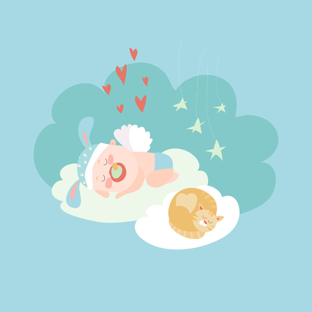 Cute baby angel sleeping with cat. Vector illustartion Illustration