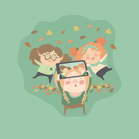 taking: Girls friends taking selfie photo with autumn leaves. Vector illustration