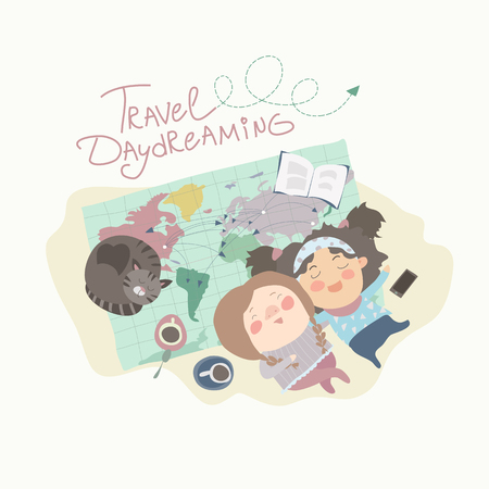 Two cute girls have daydreaming about traveling. vector illustration