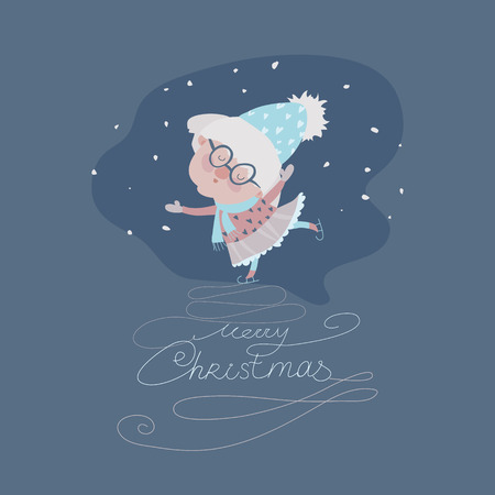 grandmamma: Old woman skating on ice. Vector christmas iluustration