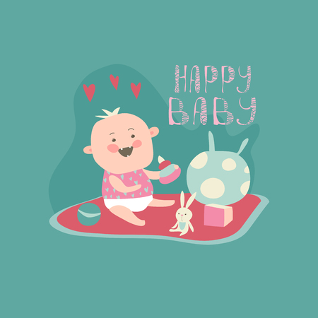 child laughing: Happy toddler with baby toys. Vector illustration