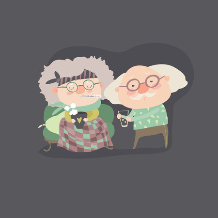 snivel: Grandfather giving his care to sick grandmother. vector illustration