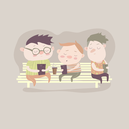 texting: Cartoon boys using smartphones for playing games or texting. Children and smartphone addiction. Illustration