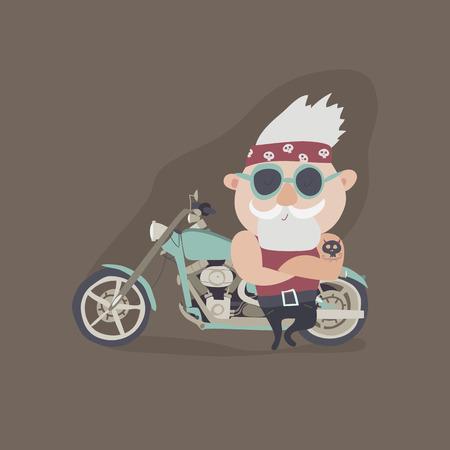My grandfather forever young biker. Vector illustration Illustration