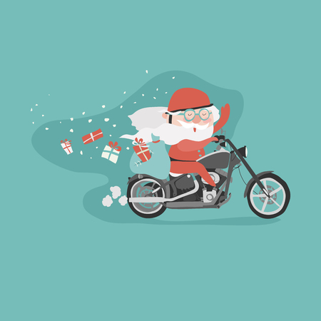 Santa on a motorcycle. Vector christmas illustration