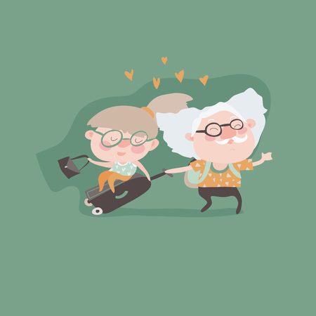 couple in summer: Travel in old age vector concept. Flat design. Elderly couple with baggage and documents going on journey. Grandparents summer vacation. Picture for travel agency ad, recreation retired illustrating.