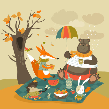 Animals at picnic in autumnal forest. Vector illustration
