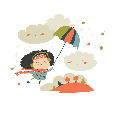 mosca caricatura: Muchacha con el paraguas que juegan con las hojas de otoño y la lluvia. ilustración vectorial