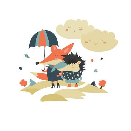 umbrela: Cute fox and hedgehog walking under umbrella.