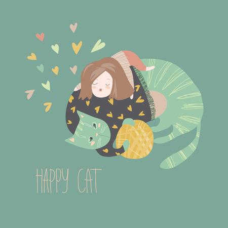 Cute cartoon girl with her playful cat.