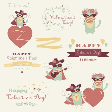 macho: set of couple funny valentine cats, macho cat and his girlffriend Illustration
