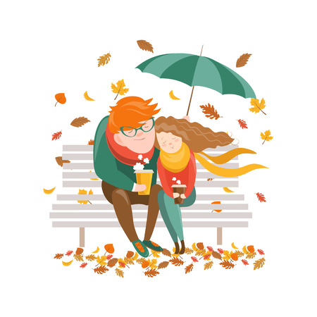 Couple sitting on bench under umbrella. Vector illustration
