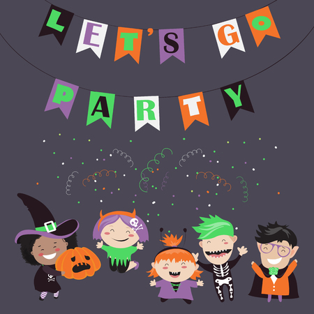 trick or treating: Children trick or treating in Halloween costume. Vector illustration
