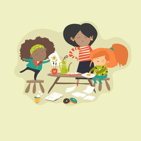 Children with teacher drawing in art class. Vector illustration