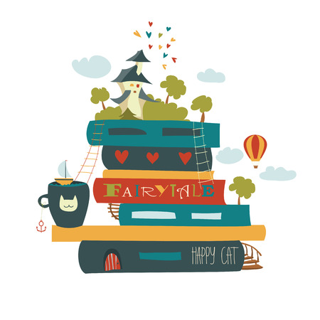 niños leyendo: concepto de cuento con el libro y el castillo medieval. ilustración vectorial Vectores