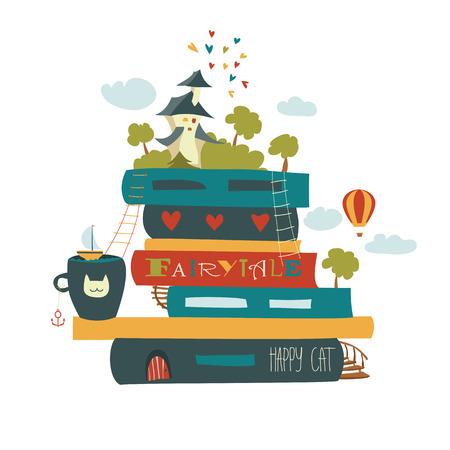 book: Pohádkový koncept s knihou a středověkým hradem. Vektorové ilustrace