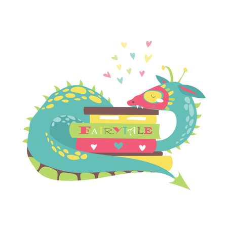 Cute dragon with stack of books. Vector illustration Illustration