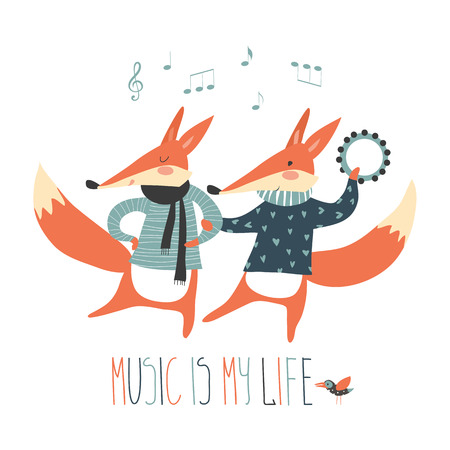 Cute cartoon fox. Cheerful dancing foxes on a white background. Music in my head