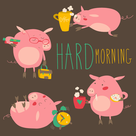 Funny pigs about hard awaking with coffee mugs. Vector collection