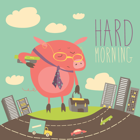 jaded: Funny sleepy pig going to work. Vector illustration