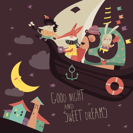 Leuke dieren zwemmen op boot in de nachtelijke hemel. vector illustratie