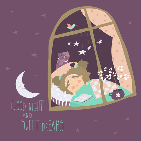 blanket: Little girl sleeping by the window. Vector illustration