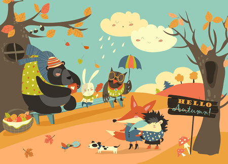 Cute animals walking in autumn forest. Vector illustration Vettoriali