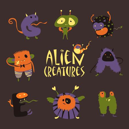 abduct: Vector set of cute cartoon halloween monsters