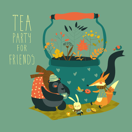 bear berry: Cute animals friends sitting around teapot. Vector illustration Illustration