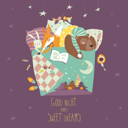 blanket: Cute animals sleeping in bed. Vector illustration