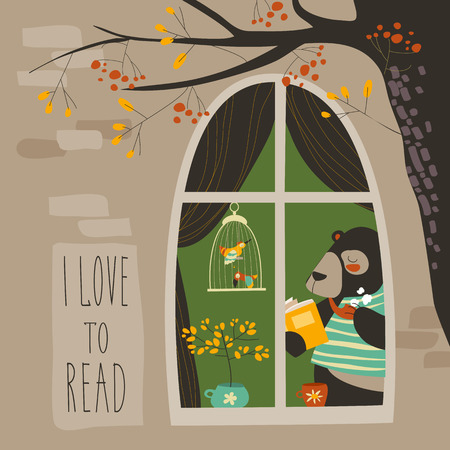 Bear reading a book near the window. Vector iluustration Ilustração