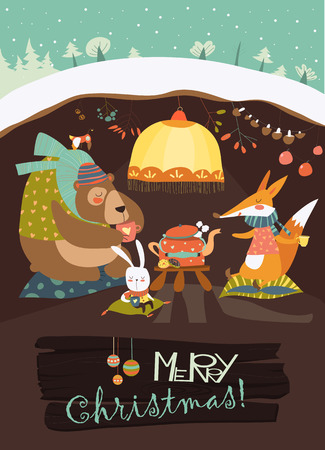 animal den: Cute bear with rabbit and fox celebrating Christmas in his den. Vector greeting card Illustration