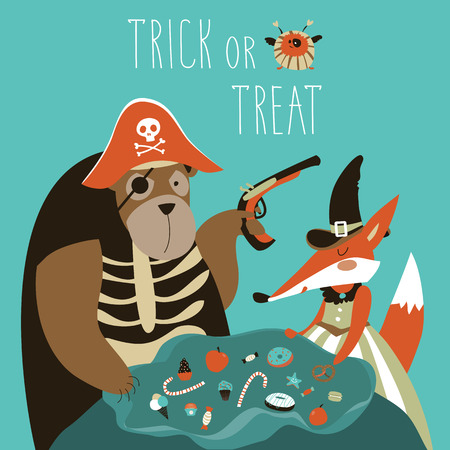 Halloween background trick or treat animals in Halloween costume. Vector illustration