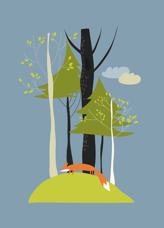 beauty of nature: Autumn landscape with trees and fox. Vector illustration