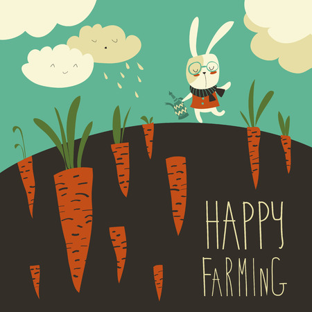 Pretty little rabbit and carrot field. Vector illustration