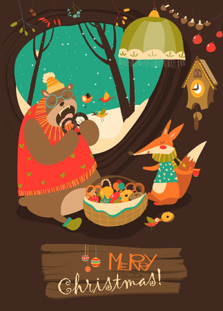 wintering: Cute bear and fox celebrating Christmas in den. Vector greeting card