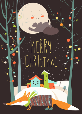 snowdrifts: Christmas greeting card with fox and town in snowdrifts Illustration