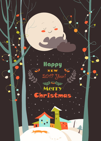 snowdrifts: Vector christmas greeting card with little town in snowdrifts Illustration