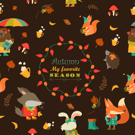 autum: Vector autumn forest seamless pattern with cute animals Illustration