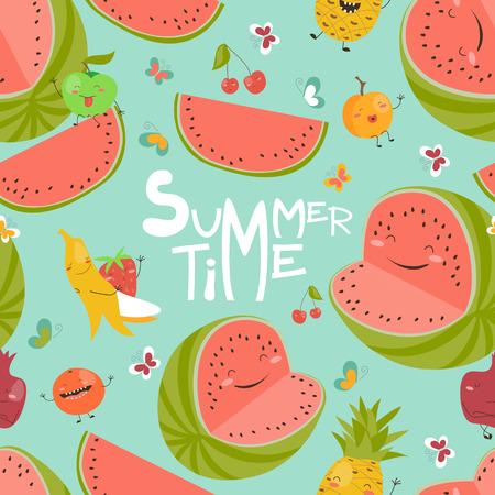 summer fruits: Vector seamless pattern with cute summer fruits