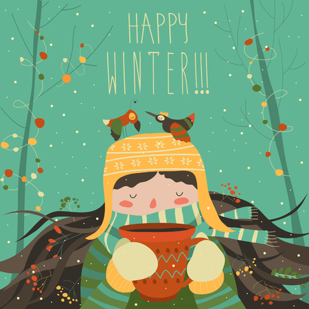 Cute winter cartoon girl with coffee. Vector illustration