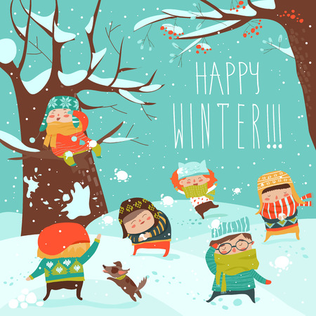 Funny kids playing snowball fight. Vector illustration 向量圖像
