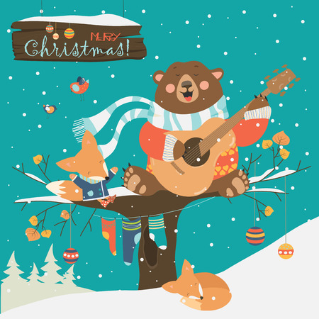 wintering: Cute bear and little fox celebrating Christmas. Vector greeting card Illustration