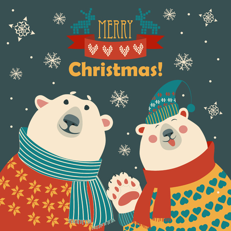 two friends: Two friends, polar bears say hello, vector greeting card Illustration