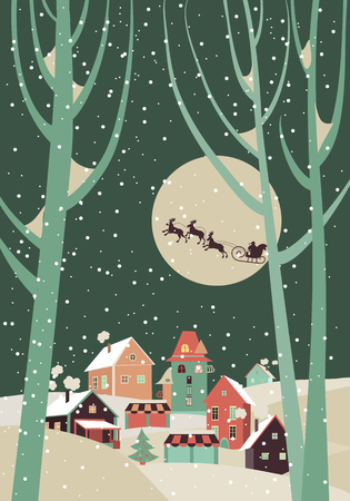 santa sleigh: Santa Claus sleigh with reindeer fly over the city and throws gifts on the background of the moon. Vector greeting card
