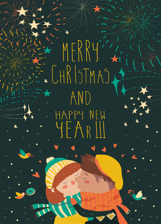 lovely couple: Cute card for lovely christmas with kissing couple and firework. Vector illustration