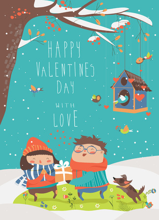 Boy gives a gift to the girl. Vector Valentines card